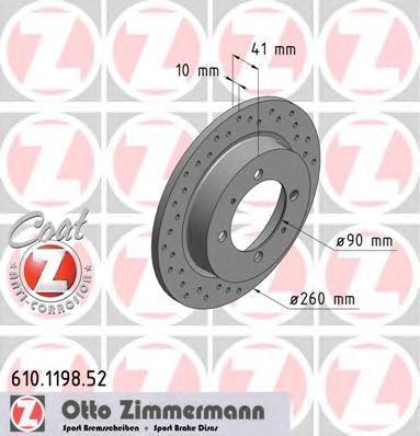 610119852 ZIMMERMANN Тормозной диск