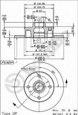 Тормозной диск BREMBO 08500514
