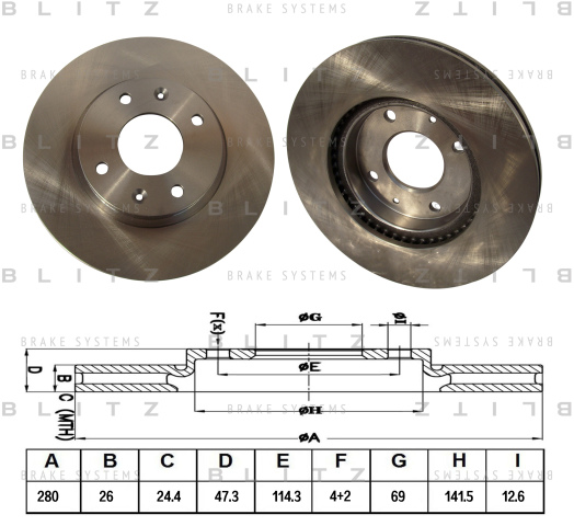 Диск тормозной BLITZ BS0218