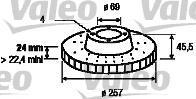 186823 VALEO Тормозной диск