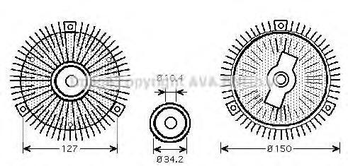 Сцепление, вентилятор радиатора AVA MSC415