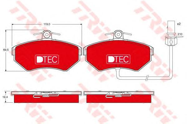 GDB1366DTE TRW Комплект тормозных колодок