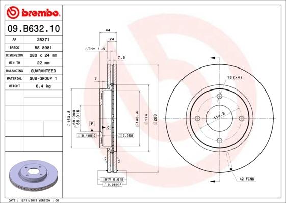 09B63210 BREMBO Тормозной диск