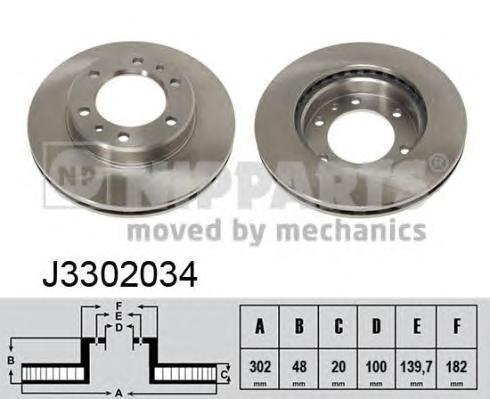 J3302034 NIPPARTS Тормозной диск