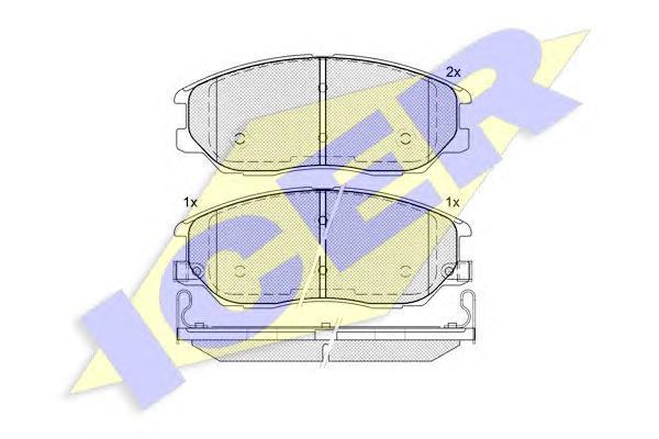 181714 ICER Комплект тормозных колодок, дисковый тормоз