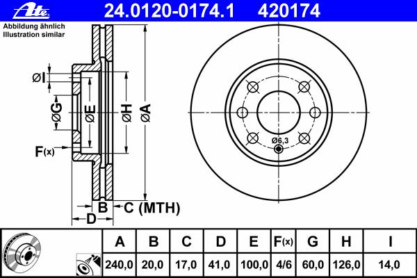 24012001741 ATE Тормозной диск