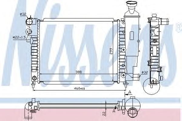 Радиатор, охлаждение двигателя NISSENS 63522