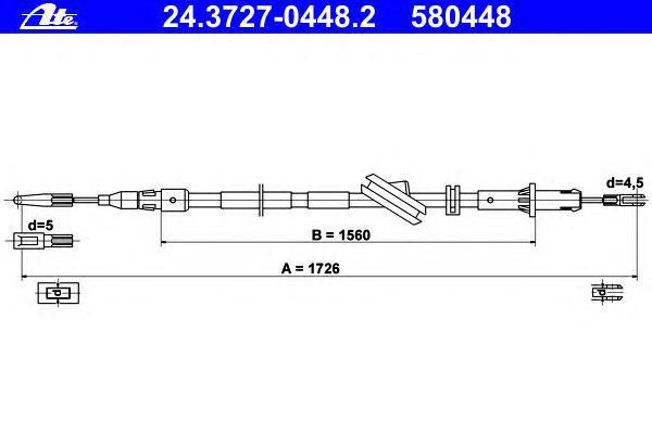 24372704482 ATE Трос, стояночная тормозная система