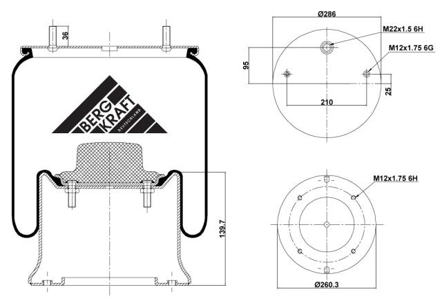 BK054810C05 BERGKRAFT Рессора пневматическая 4810 N P05 металлический стакан SAF291SV