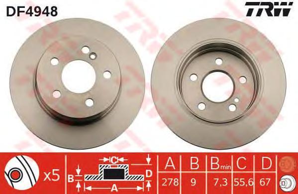 DF4948 TRW Тормозной диск