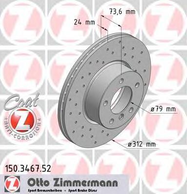150346752 ZIMMERMANN Тормозной диск