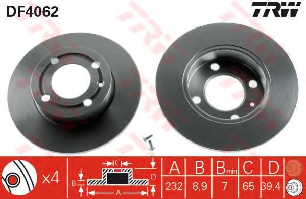 DF4062 TRW Тормозной диск