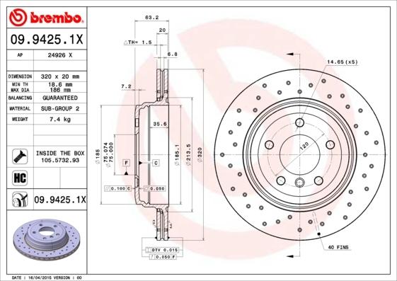 0994251X BREMBO Тормозной диск