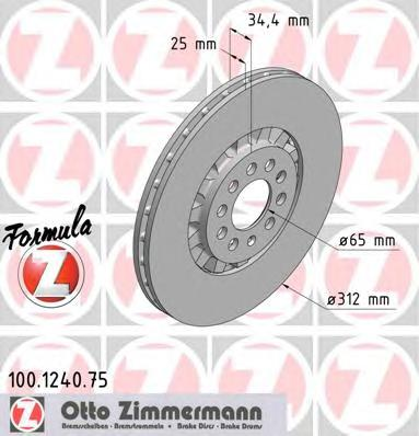 100124075 ZIMMERMANN Тормозной диск