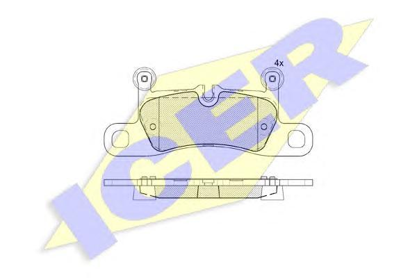 Комплект тормозных колодок, дисковый тормоз ICER 181987