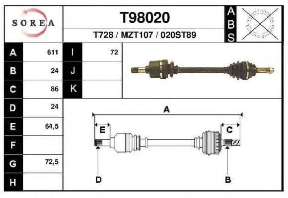 Приводной вал EAI GROUP T98020