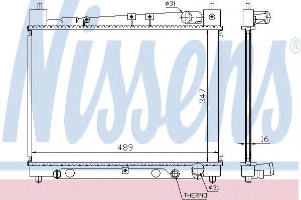 Радиатор, охлаждение двигателя NISSENS 64798A