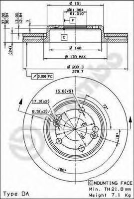 09813714 BREMBO Тормозной диск