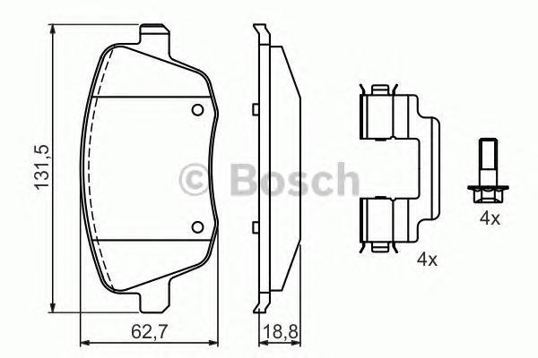 0986424829 BOSCH Комплект тормозных колодок, дисковый тормоз