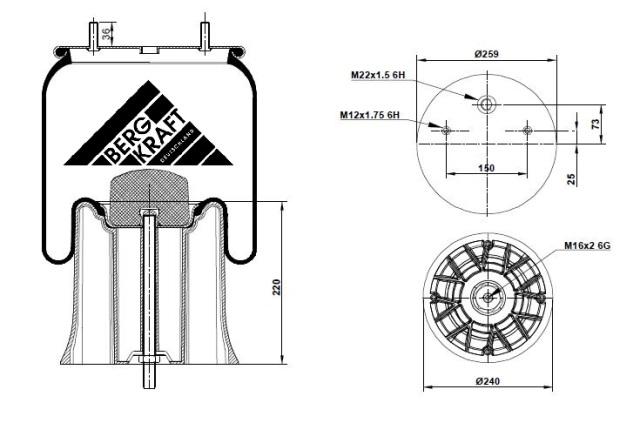 BK052626CP BERGKRAFT Тормозная пневматическая камера
