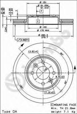 09813721 BREMBO Тормозной диск
