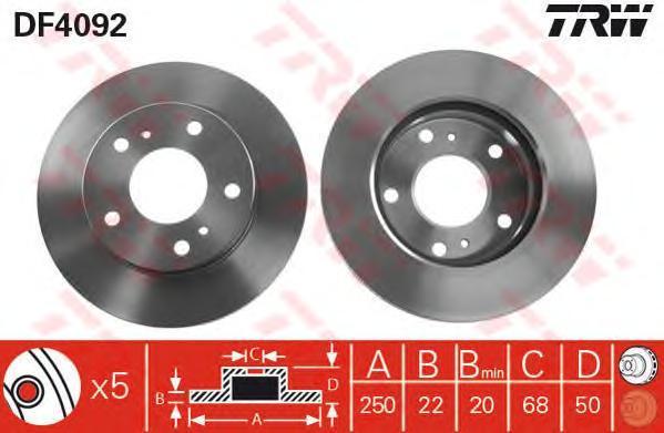 DF4092 TRW/LUCAS Тормозной диск