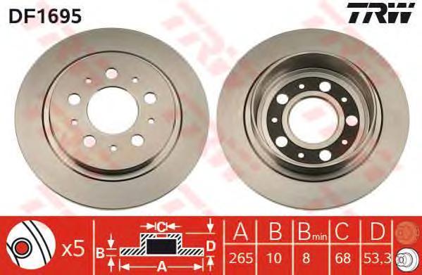 DF1695 TRW Тормозной диск