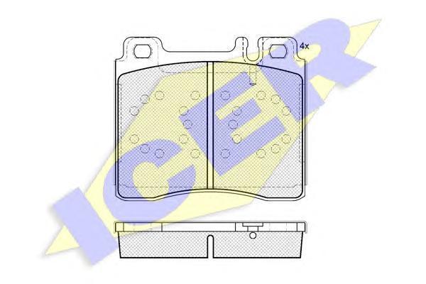 Комплект тормозных колодок, дисковый тормоз ICER 181158