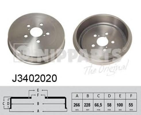 J3402020 NIPPARTS Тормозной барабан