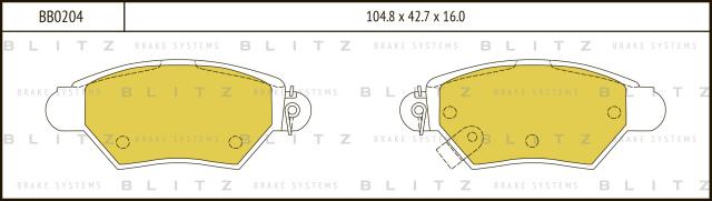 Колодки тормозные дисковые BLITZ BB0204