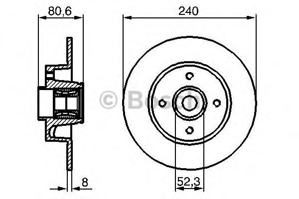 0986479278 BOSCH Диск тормозной задний с подшипником Bosch 0986479278