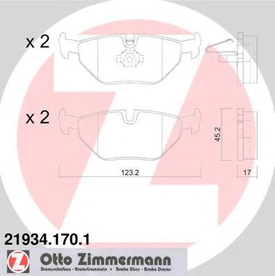 Колодки тормозные дисковые задние комплект ZIMMERMANN 219341701