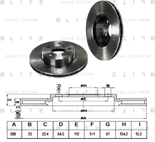 BS0266 BLITZ Диск тормозной
