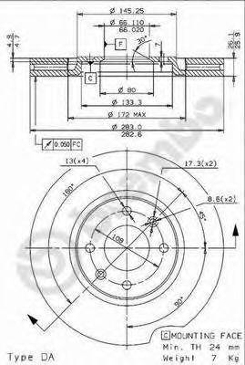 09961614 BREMBO Диск тормозной передний вентилируемый
