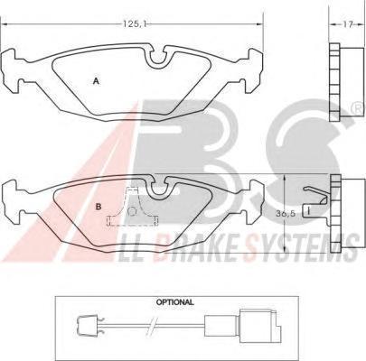 36489 ABS Комплект тормозных колодок, дисковый тормоз
