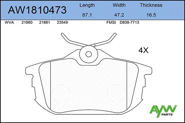 AW1810473 AYWIPARTS Колодки тормозные задние