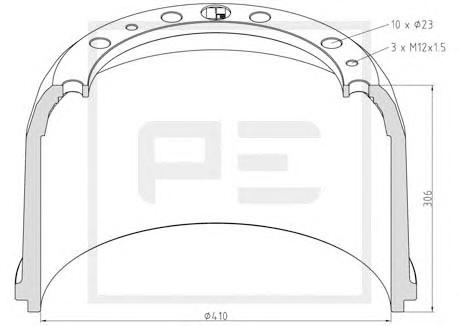 Тормозной барабан PE AUTOMOTIVE 01644300A