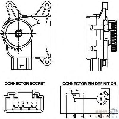 6NW351344021 BEHR-HELLA Регулировочный элемент, смесительный клапан