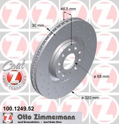 Диск тормозной вентилируемый, перфорированный ZIMMERMANN 100124952