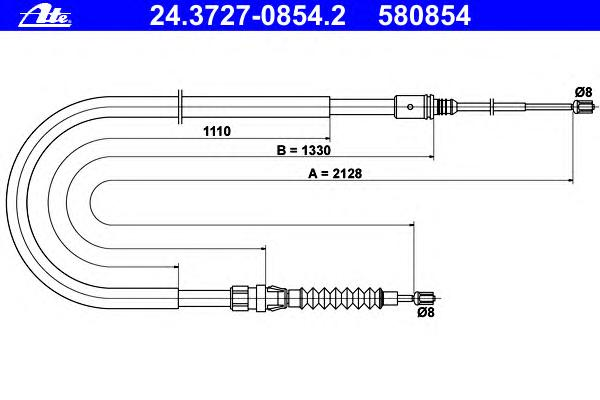 24372708542 ATE Трос, стояночная тормозная система