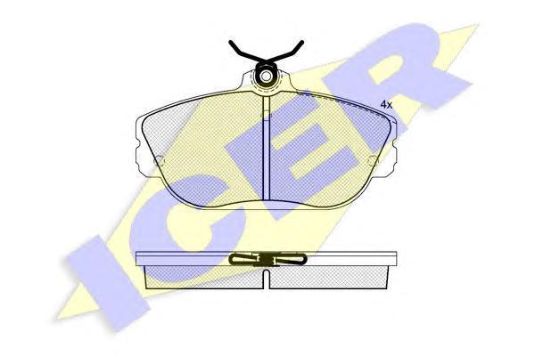 Комплект тормозных колодок, дисковый тормоз ICER 181506