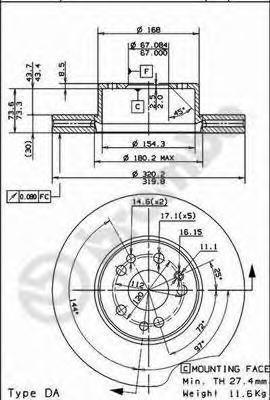 09570420 BREMBO Тормозной диск