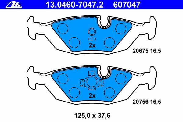 13046070472 ATE Комплект тормозных колодок, дисковый тормоз
