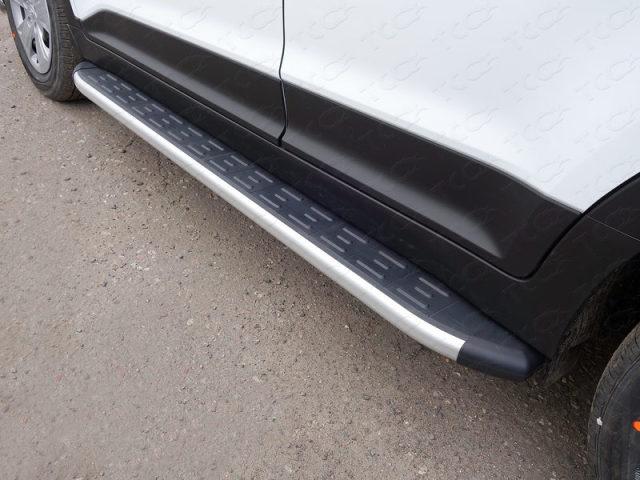 HYUNCRE1606AL ТСС Пороги алюминиевые с пластиковой накладкой 1720 мм Hyundai Creta (2016-)