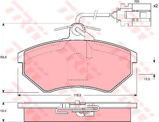 GDB1057 TRW/LUCAS Комплект тормозных колодок, дисковый тормоз