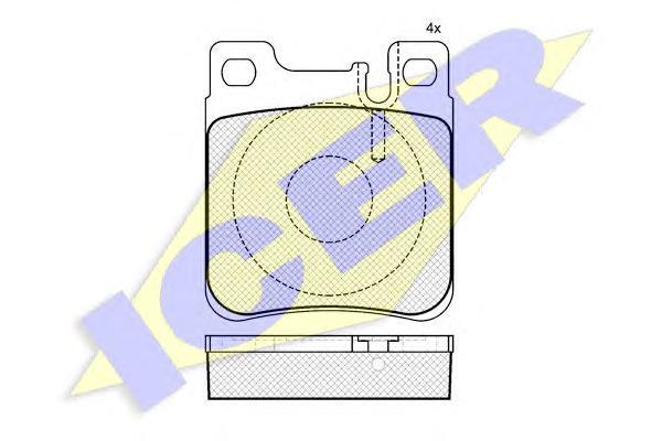 Комплект тормозных колодок, дисковый тормоз ICER 180976