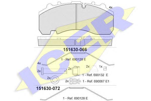 151630066 ICER Комплект тормозных колодок, дисковый тормоз