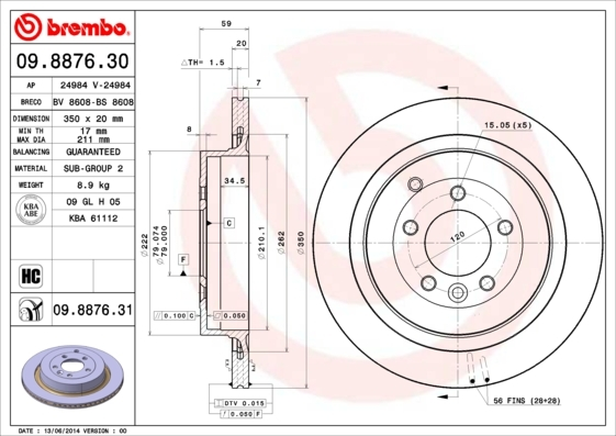 09887631 BREMBO Тормозной диск