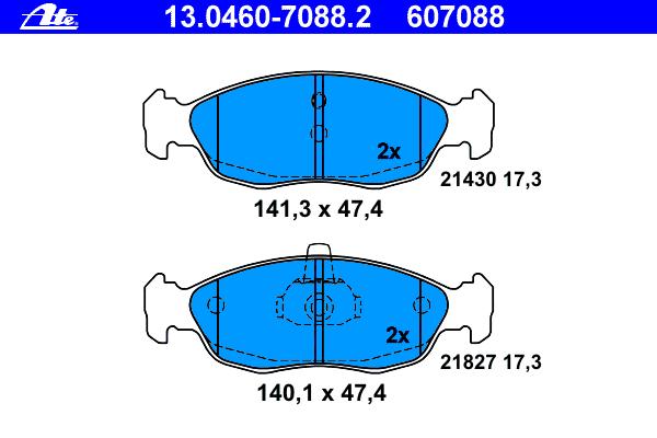 13046070882 ATE Комплект тормозных колодок, дисковый тормоз