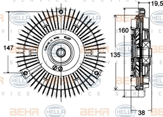 8MV376758431 HELLA Сцепление, вентилятор радиатора - легков